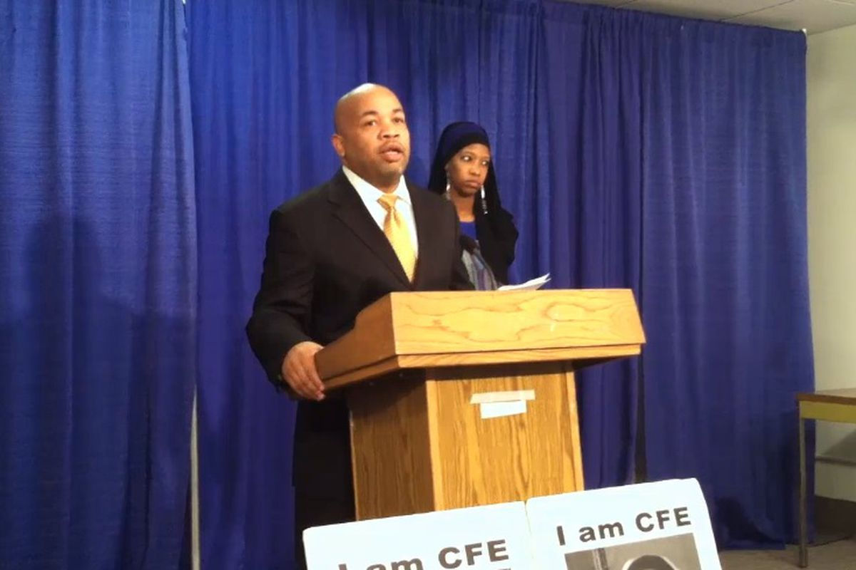 Assembly Speaker Carl Heastie, speaking at a press conference in 2012 held by  the Alliance for Quality Education.