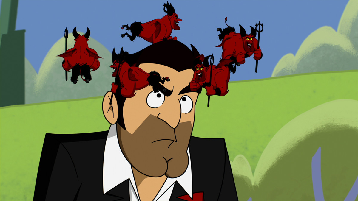 """A cartoon version of Tom Ellis as Lucifer Morningstar in the Lucifer episode """"Yabba Dabba Do Me"""" has little red cartoon devils circling his head"""