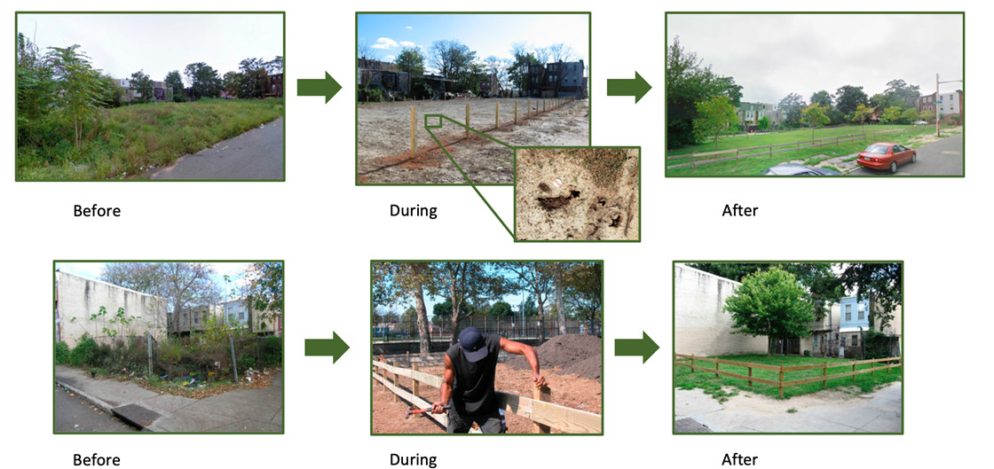 Before and after photos of once-vacant lots during the PNAS study in Philadelphia.