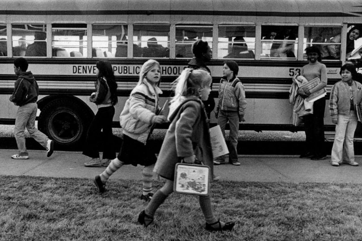 Denver children leave Sabin Elementary in Feburary 1982