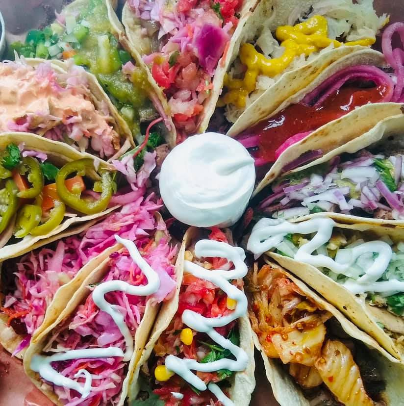 an assortment of tacos from overhead