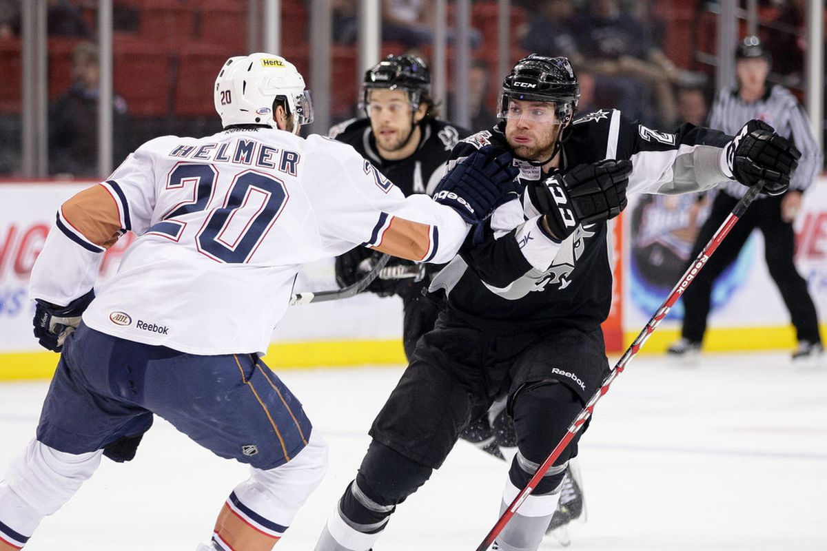 """The Rampage buried the Barons in the final 32 minutes of the game. Photo courtesy of <a href=""""http://www.stevenchristyphotography.com"""" target=""""new"""">Steven Christy Photography</a>. All rights reserved."""