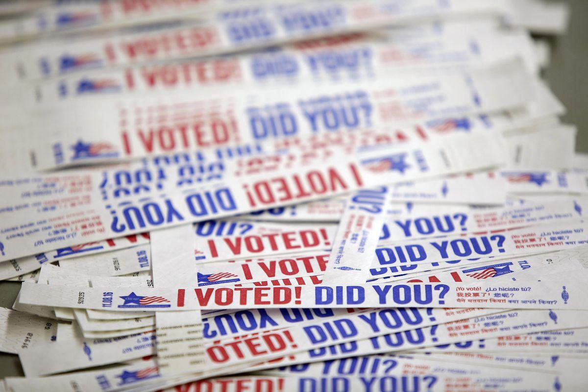 """I voted"" wristbands"