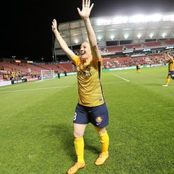 Utah Royals FC forward Amy Rodriguez (8) waves to her family after a match against the Orlando Pride at Rio Tinto Stadium in Sandy on Wednesday, May 9, 2018.