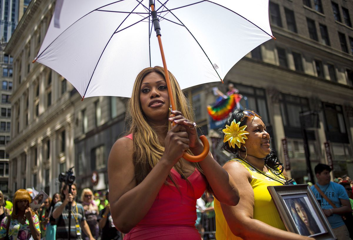 Laverne Cox at an LGBTQ pride march.