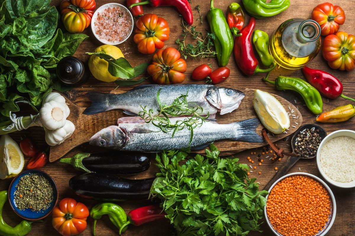 """The Mediterranean diet guides people to eat plenty of plants and foods that are low in """"bad"""" cholesterol, such as legumes, nuts, wheat, fruits, veggies and fish."""