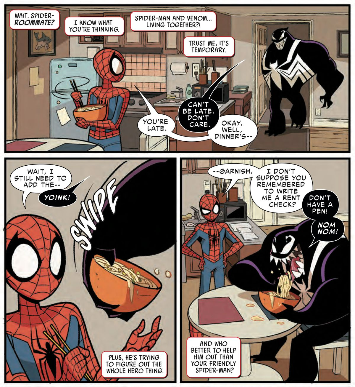 Venom gets home and eats ALL of Spider-Man's carefully prepared noodle dinner because he is the worst roommate, in Spider-Man & Venom: Double Trouble #1, Marvel Comics (2019).