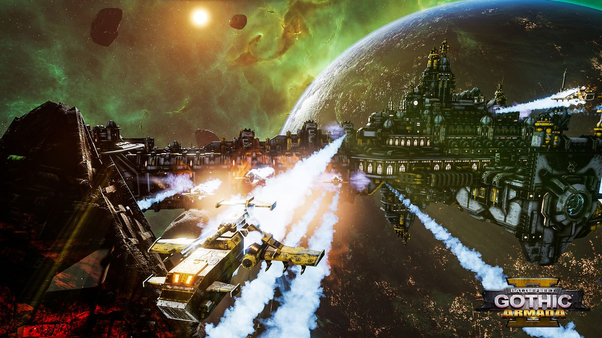 A wing of Space Marine assault ships in Battlefleet Gothic: Armada 2.