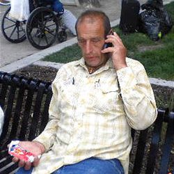 Max Melitzer was spotted sitting in Pioneer Park in downtown Salt Lake City on Saturday.