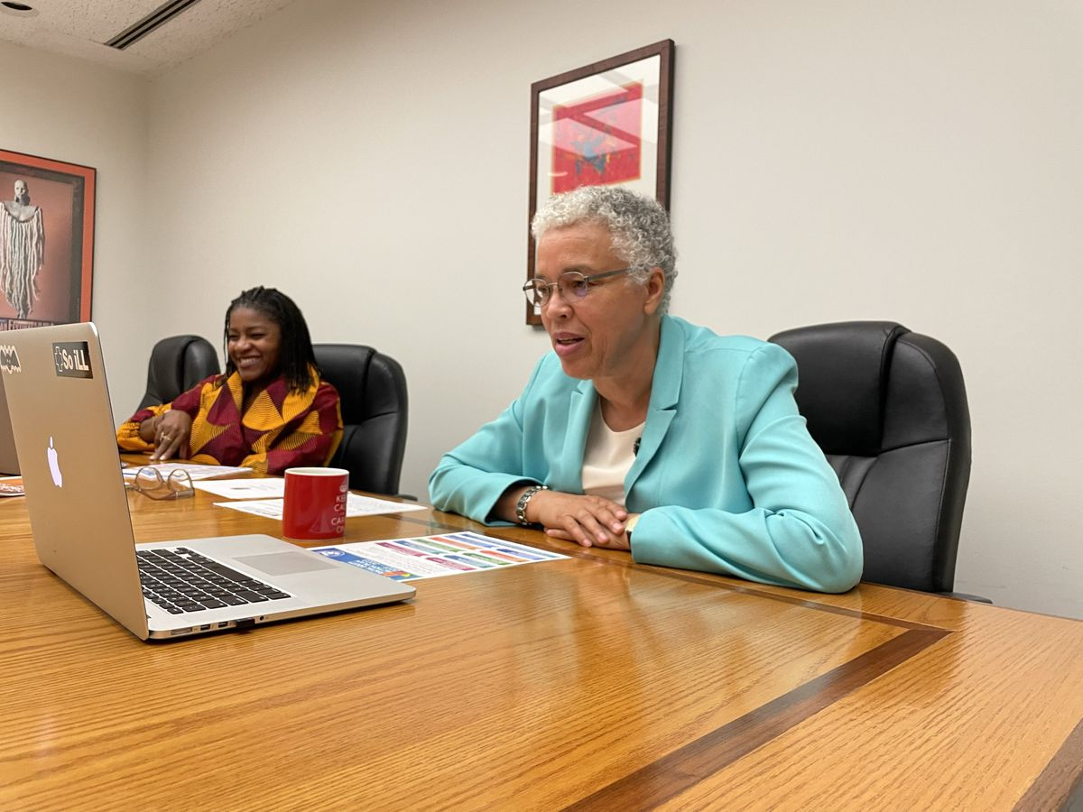 """Cook County Board President Toni Preckwinkle (r) and County Director of Equity and Inclusion Denise Barreto discuss the county's new Racial Equity Action Plan, which includes racial equity training for all employees. The plan grew out of work """"to if not re-direct our focus, then sort of laser it on racial equity,"""" Preckwinkle said."""