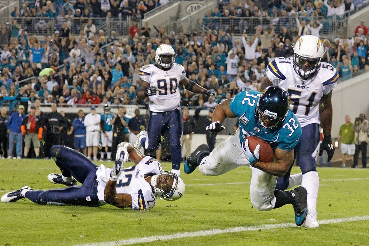 JACKSONVILLE, FL - DECEMBER 05:   Maurice Jones-Drew #32 of the Jacksonville Jaguars scores a touchdown during a game against the San Diego Chargers at EverBank Field on December 5, 2011 in Jacksonville, Florida.  (Photo by Mike Ehrmann/Getty Images)