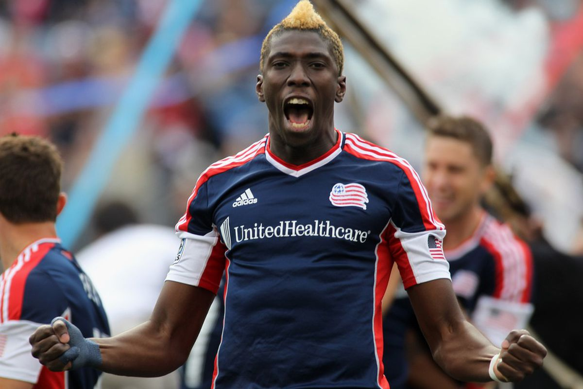 Apr 14, 2012; Foxborough, MA, USA; New England Revolution forward Saër Sène (39) reacts after assisting on a goal by Jose Moreno (not pictured) during the first half against D.C. United at Gillette Stadium. Mandatory Credit: Stew Milne-US PRESSWIRE