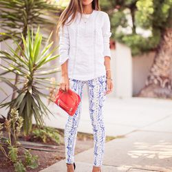 """Aimee of <a href=""""http://songofstyle.blogspot.com""""target=""""_blank"""">Song of Style</a> is wearing an Anine Bing top, <a href=""""http://www.rebeccaminkoff.com/shop/denim-shop/bleeker-skinny-jean-blue-multi.html""""target=""""_blank"""">Rebecca Minkoff</a> jeans, Zara he"""