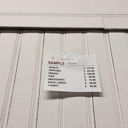 Price list for runway samples, Nicholas K