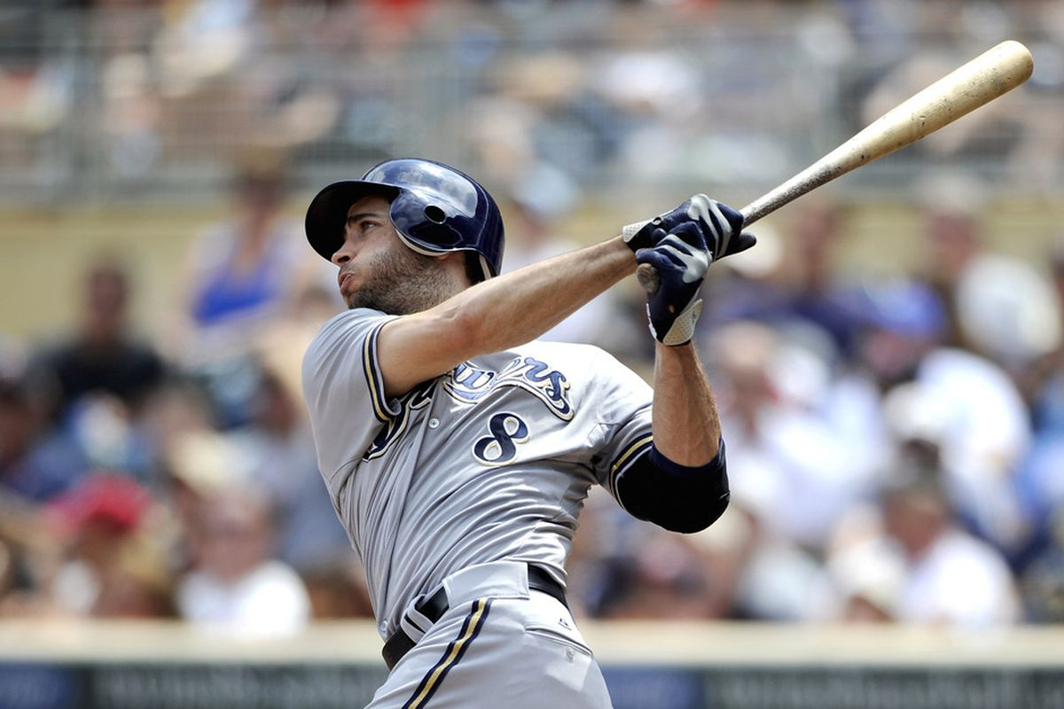 MINNEAPOLIS, MN - JUNE 16: Ryan Braun #8 of the Milwaukee Brewers hits a solo home run against the Minnesota Twins during the fifth inning on June 16, 2012 at Target Field in Minneapolis, Minnesota. (Photo by Hannah Foslien/Getty Images)