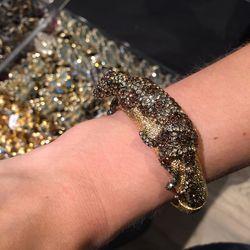 Leopard hinged bracelet, $150