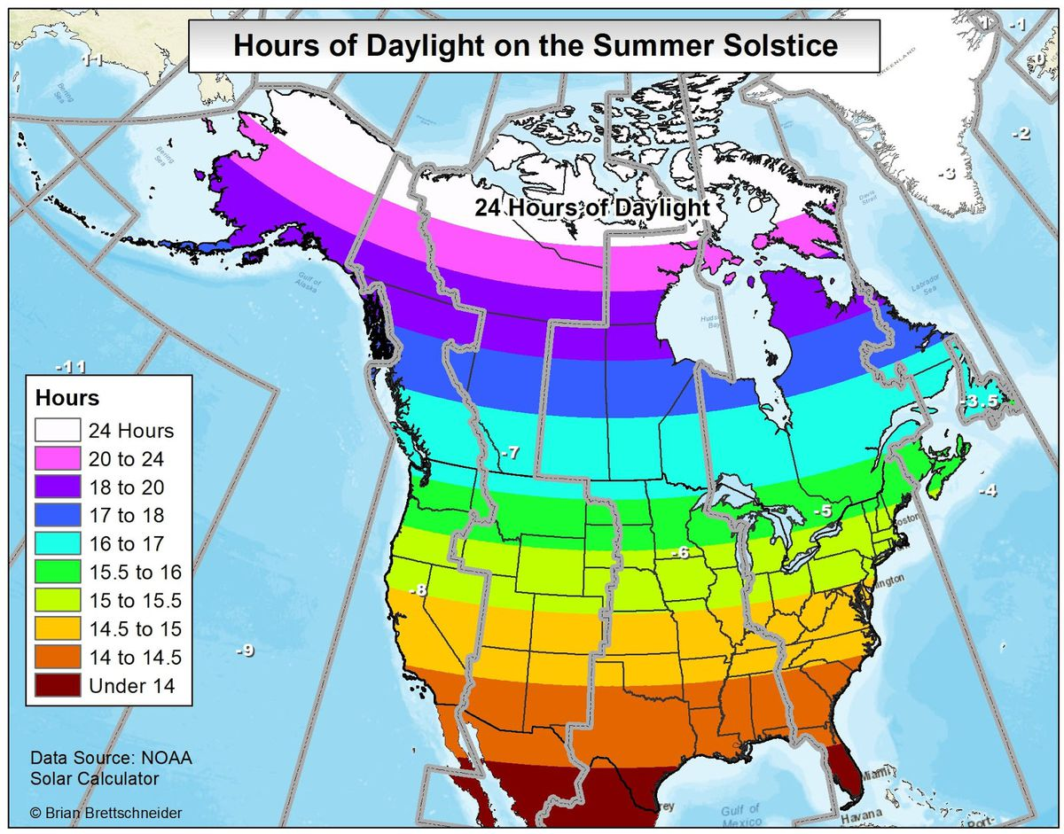 The Summer Solstice Is Here 6 Things To Know About Longest Day Solar Radiation Diagram Surfaces 60 Deg North 2 How Many Hours Of Sunlight Will I Get On Thursday