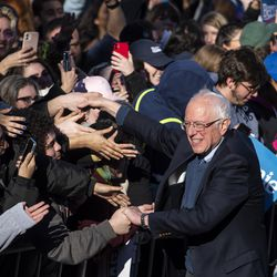 Presidential Candidate Bernie Sanders shakes hands with crowd members after his rally Saturday, March 7, 2020 in Grant Park.
