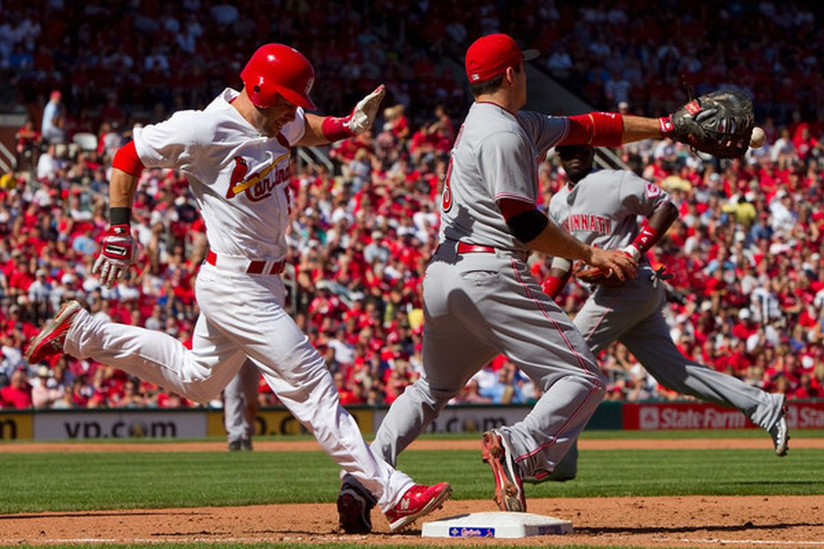 """Cardinals second baseman, brought to you by, """"If you don't like it, just Skip it.""""  (Photo by Dilip Vishwanat/Getty Images)"""
