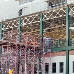 Scaffolding near northwest corner of ballpark
