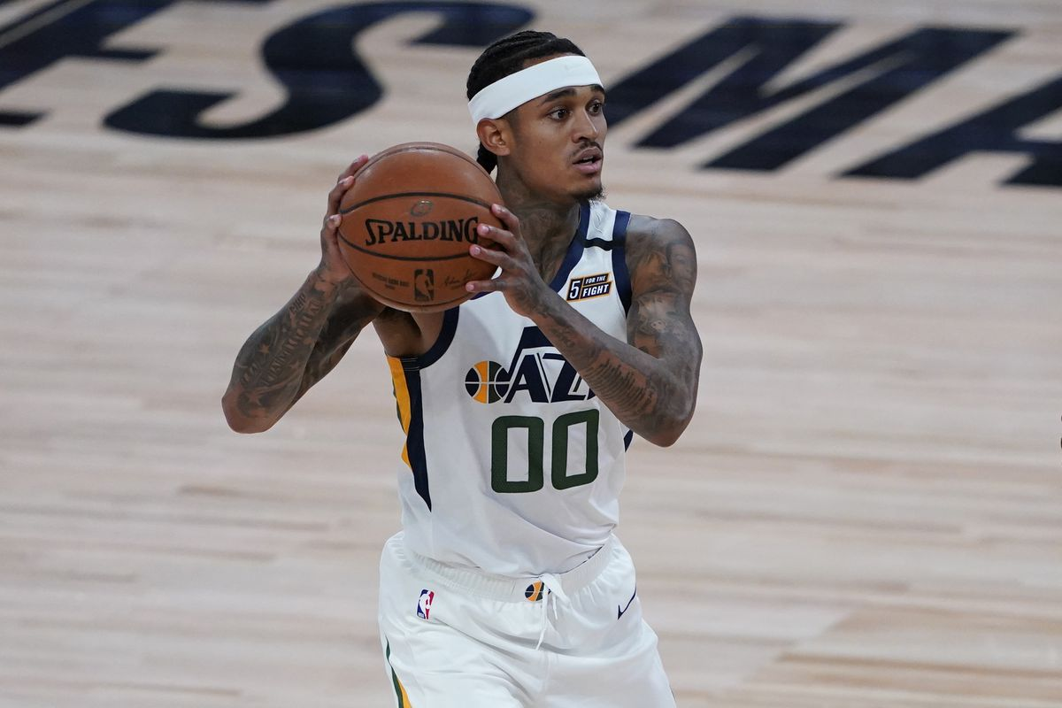 Jordan Clarkson of the Utah Jazz handles the ball against the Oklahoma City Thunder during the second half of an NBA basketball game on August 1, 2020 in Lake Buena Vista, Florida.