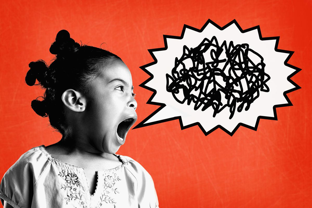 Girl yelling against red background