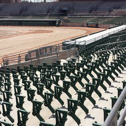 Rows upon rows of seat stanchions, without seats