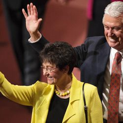 President Dieter F. Uchtdorf and his wife Harriet wave to the crowd following the Sunday afternoon session of the 183rd Semiannual General Conference for the Church of Jesus Christ of Latter-day Saints Sunday, Oct. 6, 2013 inside the Conference Center.