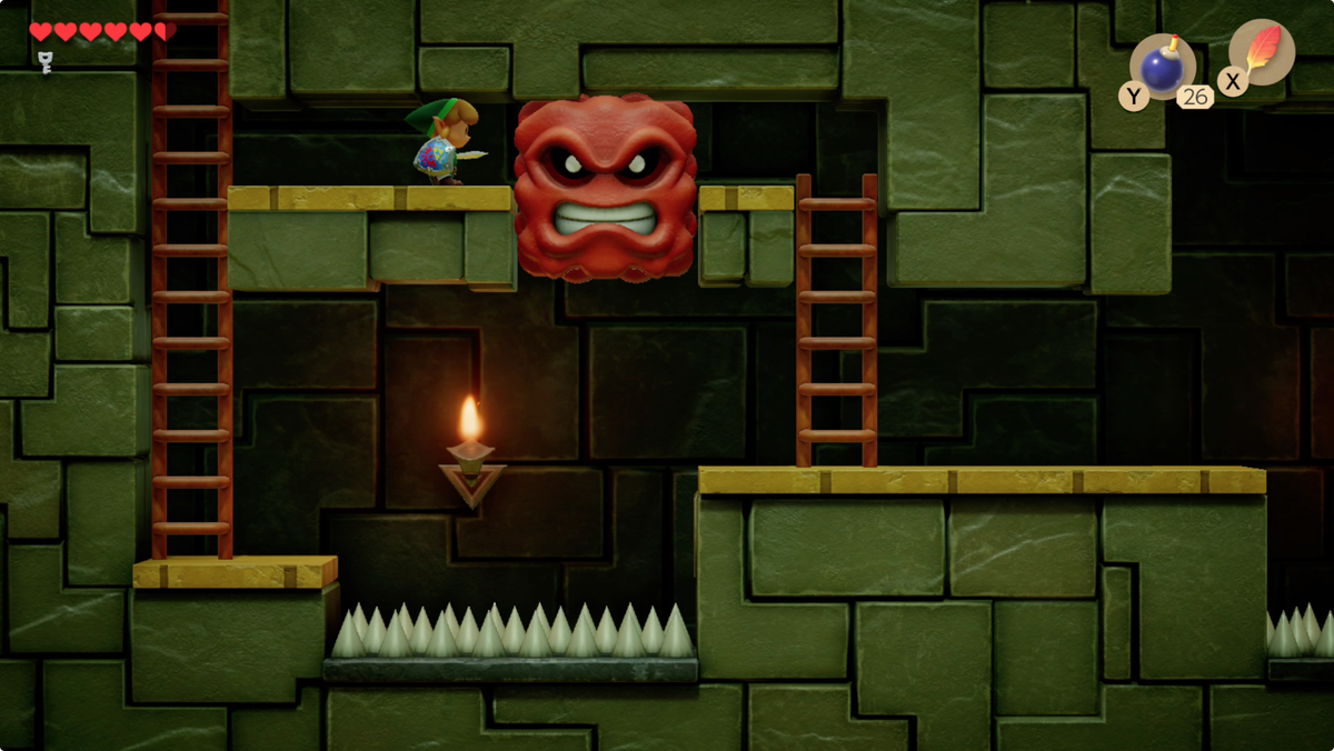 Link's Awakening Key Cavern use the Pegasus Boots to dash into the Mega Thwomp and knock it down