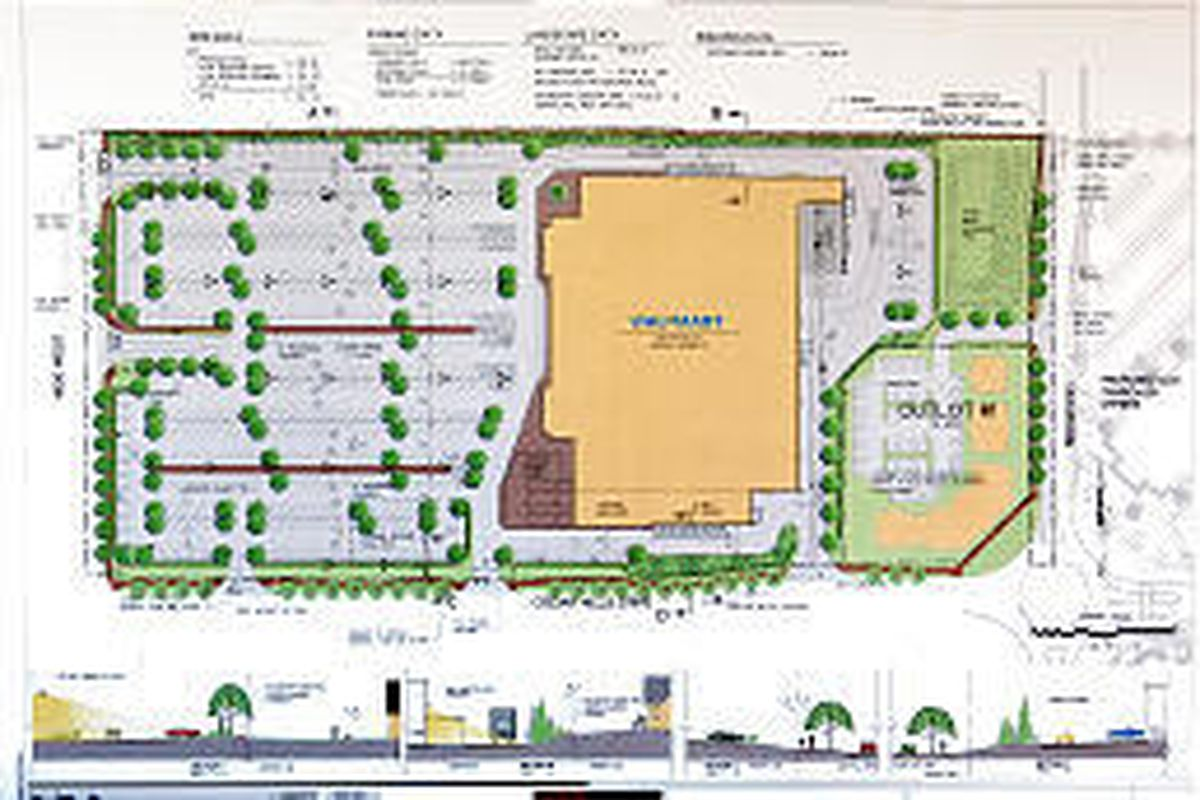 Wal-Mart says it has never before designed a store like the one proposed for Cedar Hills, with a Main Street facade on all four sides. Professional office buildings would buffer the store and neighborhood to the east.