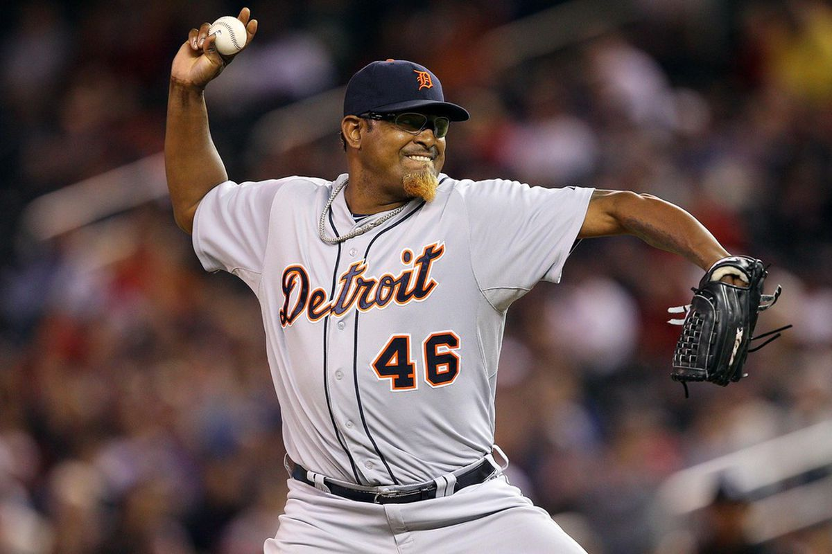 May 25, 2012; Minneapolis, MN, USA: Detroit Tigers relief pitcher Jose Valverde (46) delivers a pitch in the ninth inning against the Minnesota Twins at Target Field. The Tigers won 10-6.
