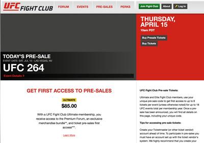 UFC Fight Club pre-sale ticket access