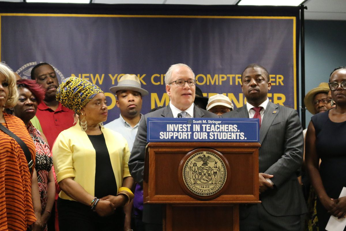 New York City Comptroller Scott Stringer laid out a proposal for a year-long paid teacher residency to reduce turnover and better prepare educators for the classroom.