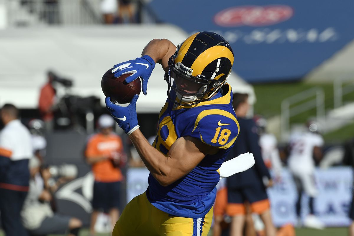 Wide receiver Cooper Kupp of the Los Angeles Rams catches a pass during pre-game warm up for the pre season game against Denver Broncos at Los Angeles Memorial Coliseum on August 24, 2019 in Los Angeles, California.
