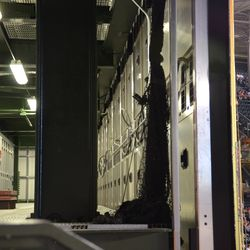 10:12 p.m. Another view of the inside of the right field video board -