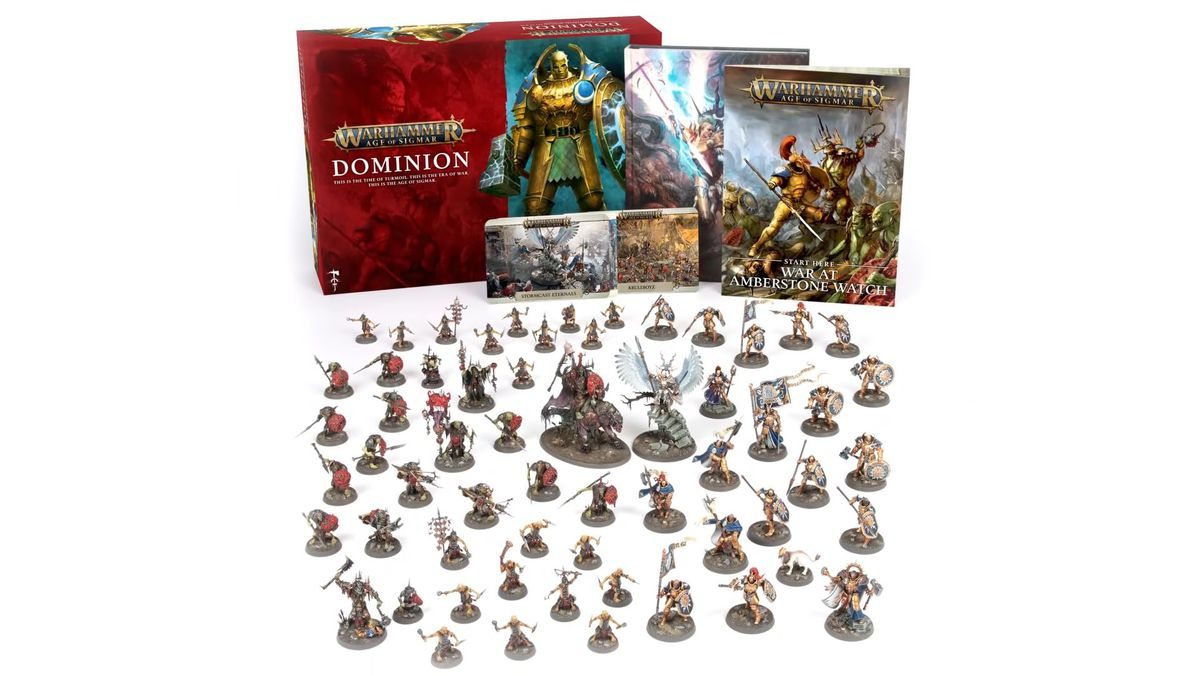 A vanity shot of all the miniatures and paperwork included with the Dominion set, pro painted.