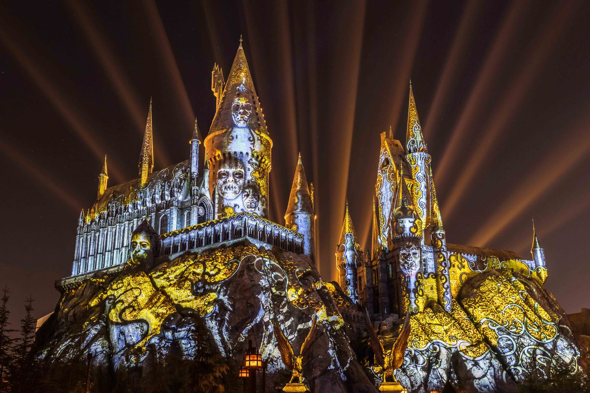Evil forces consume Hogwarts at The Wizarding World of Harry Potter's Dark Arts at Hogwarts Castle show in Universal Studios Hollywood.