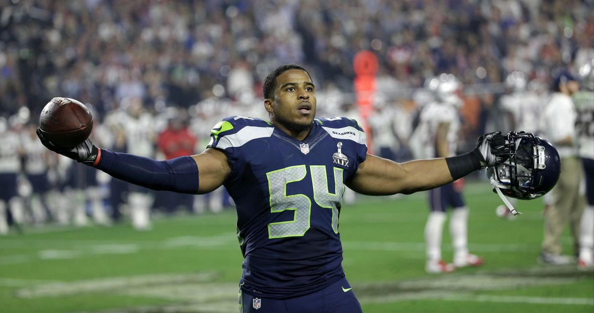 Seattle Seahawks middle linebacker Bobby Wagner (54) celebrates after intercepting a pass during the second half of NFL Super Bowl XLIX football game against the New England Patriots Sunday, Feb. 1, 2015, in Glendale, Ariz.