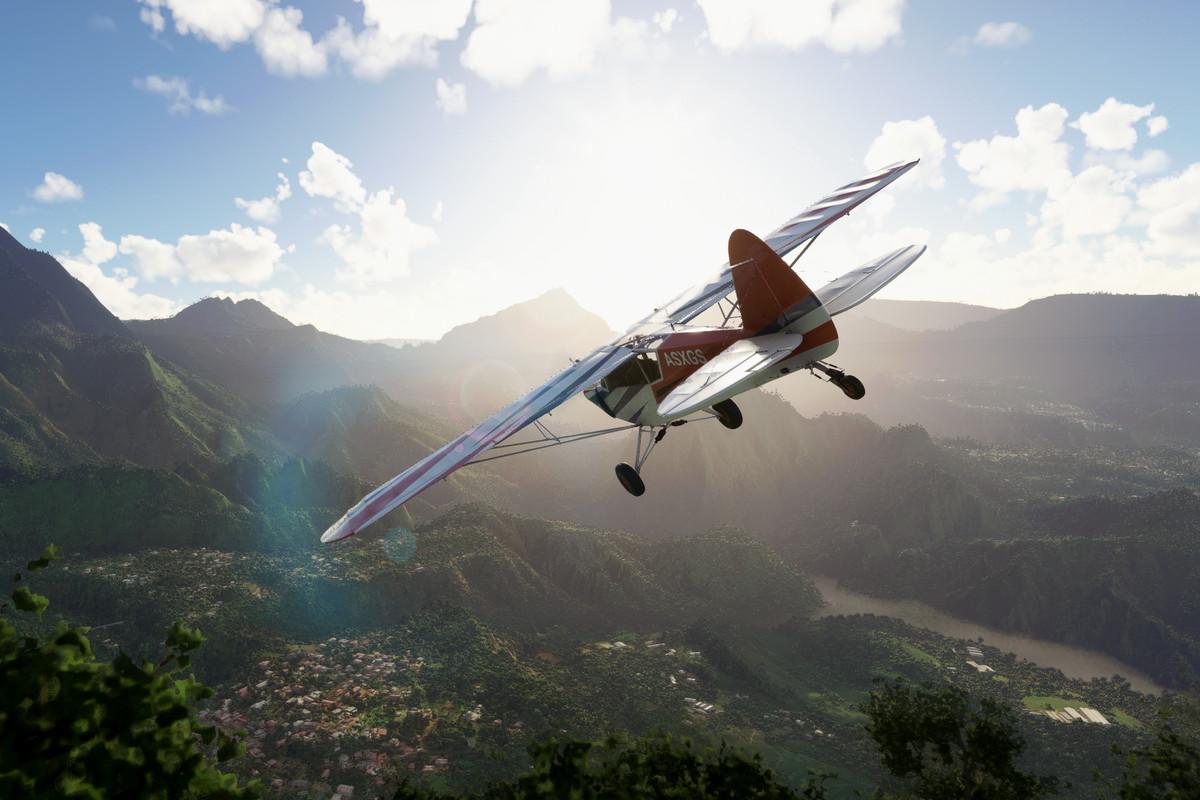 a plane soaring above the clouds in Microsoft Flight Simulator