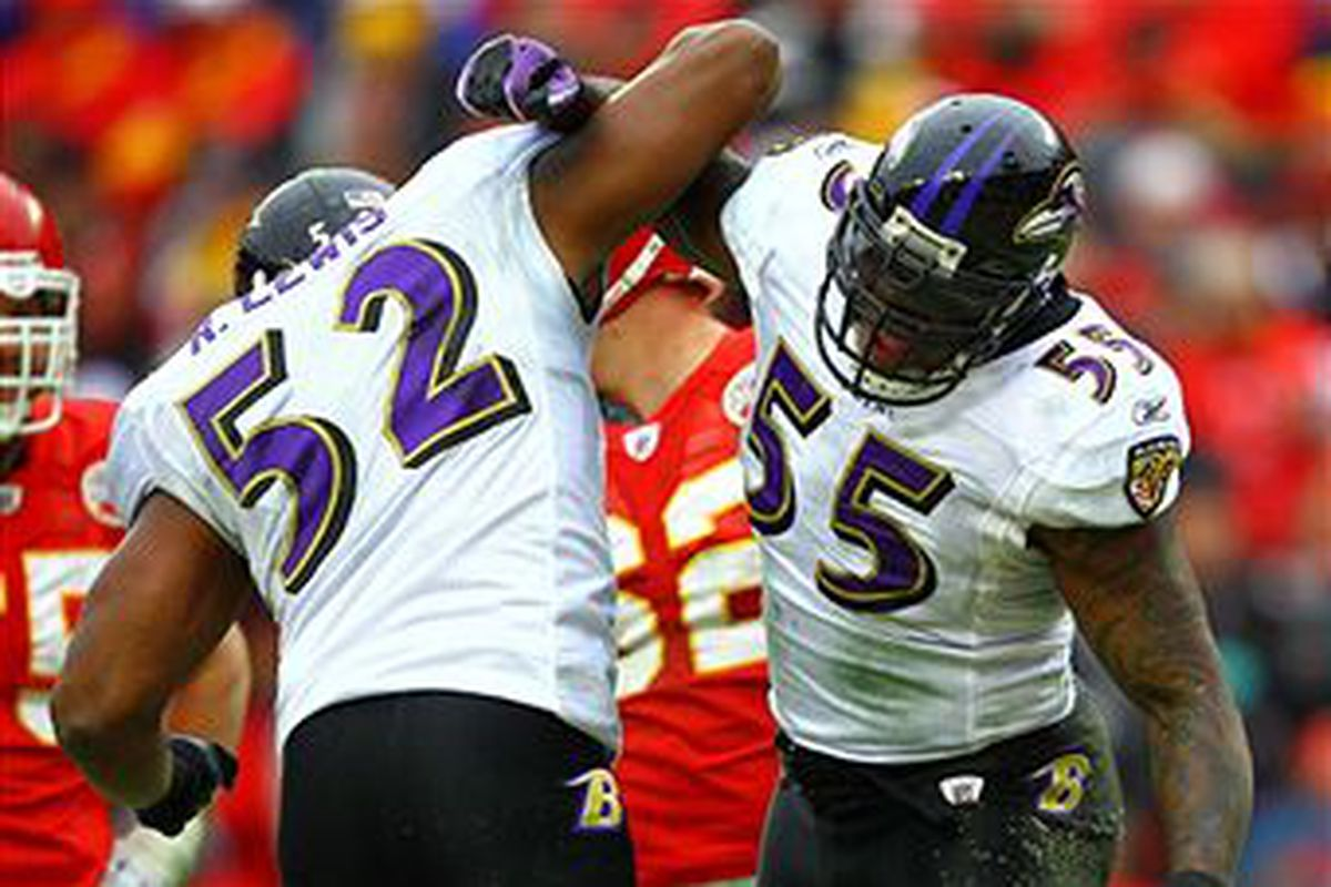 Ray Lewis & Terrell Suggs Celebrate (Getty Images)