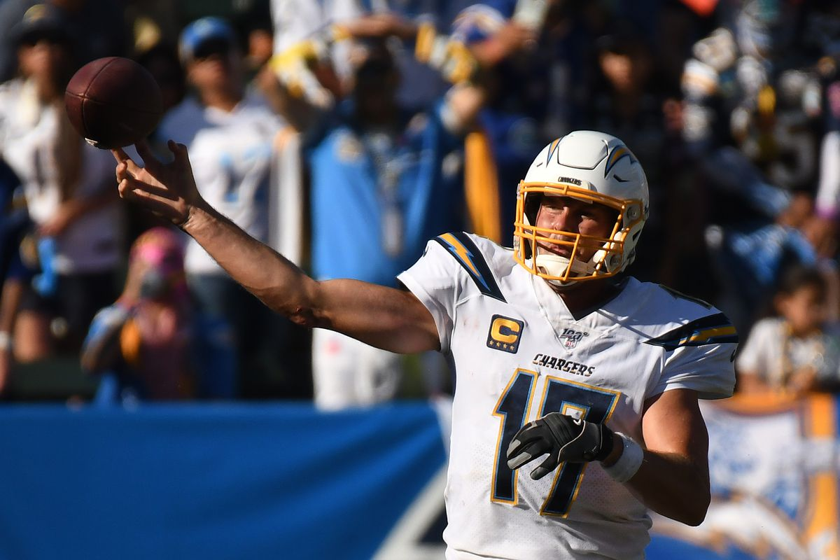 Quarterback Philip Rivers of the Los Angeles Chargers throws a pass in the fourth quarter against the Houston Texans at Dignity Health Sports Park on September 22, 2019 in Carson, California.