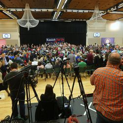 Media and supporters gather in the Grande Ballroom to listen to Ohio Gov. John Kasich as he holds a Town Hall meeting at Utah Valley University, Friday, March 18, 2016.