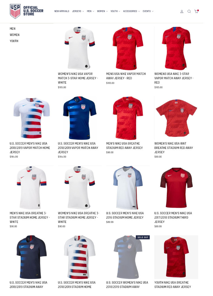 07f508bd0a5 Here s a screenshot of the US Soccer online store s jersey page from  Wednesday