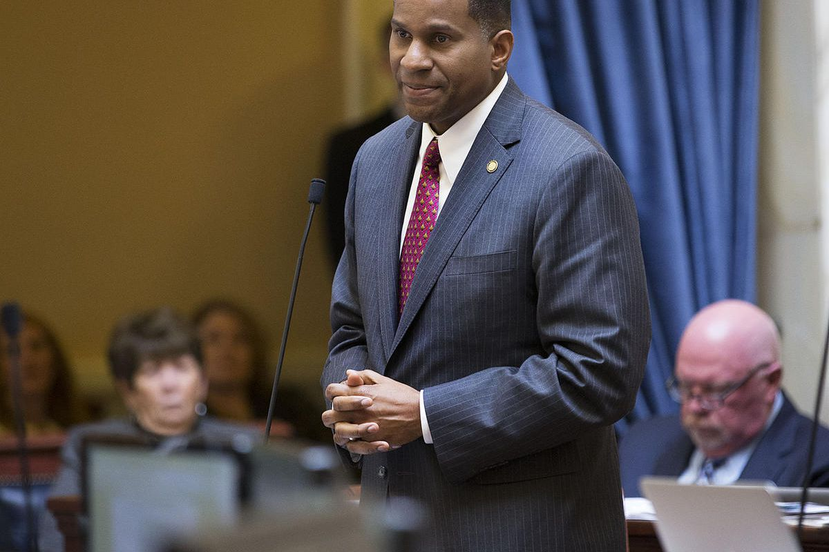 FILE - Senator Alvin Jackson, explains why he won't by voting for SB296 Friday, March 6, 2015, as the Utah State Senate debates the nondiscrimination/religious liberty bill. Jackson is the sponsor of SB45.