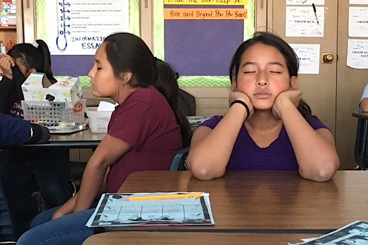 A fifth-grader in Fallon Newman's class practices mindfulness at Munroe Elementary School in Denver.