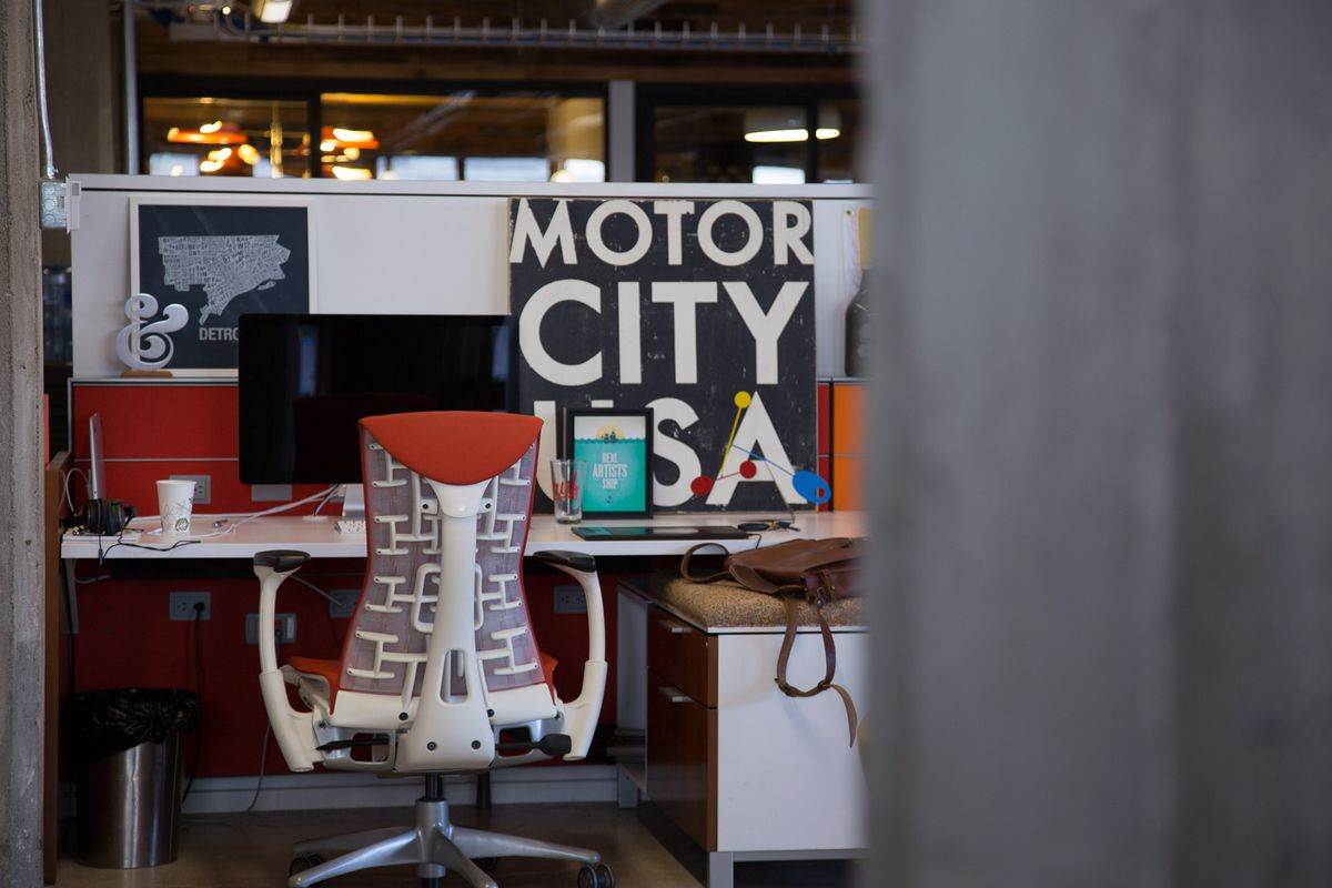 A desk at the Madison Building, where many Detroit startups and investors make their home