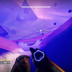 Follow the ribbon all the way to the final Pyramid, and look in the corner behind the cubes to find a secret chest