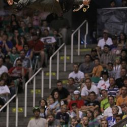 Bob Burnquist gets some air in Saturday's Dew Tour skateboard vert final at EnergySolutions Arena in Salt Lake City.