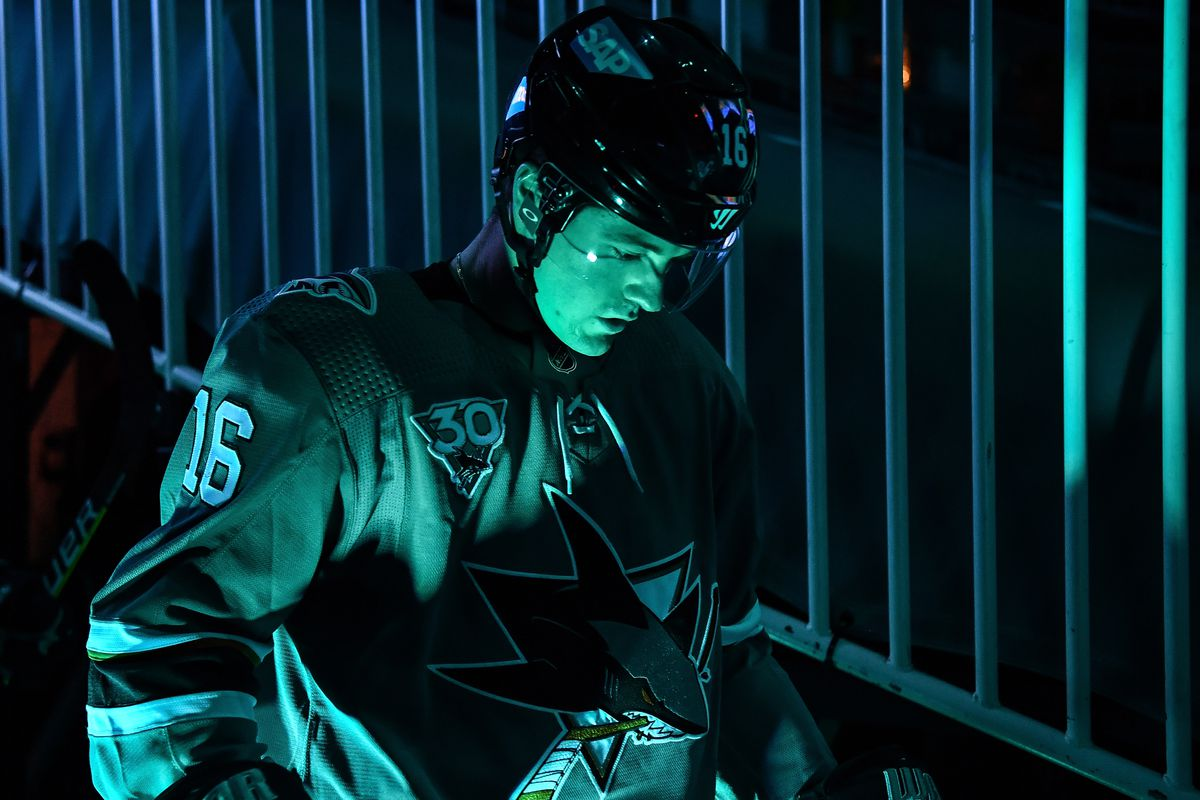 Ryan Donato #16 of the San Jose Sharks walks out onto the ice before facing the Anaheim Ducks at SAP Center on April 14, 2021 in San Jose, California.