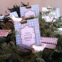 12 Days of Plaid Calendar by Sarah Pederson $18; Slip-cast ceramic birds, $20/set of 3, by Cookie Redding